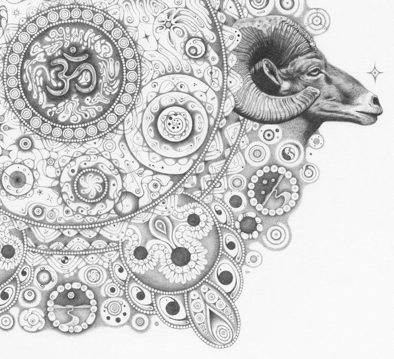 Snowflakes 154 Inward Harmony, Mandala Drawing, Nature, Ram Head, OM, Aries