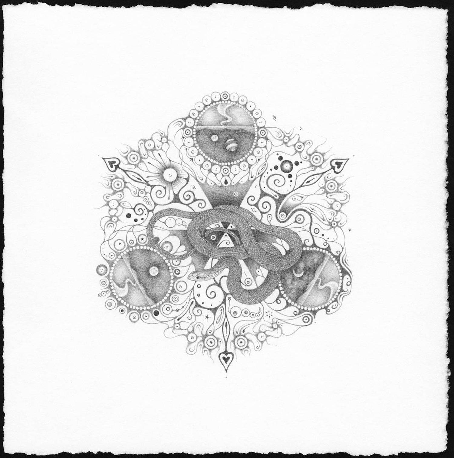 Snowflakes 120 messenger mandala pencil drawing snakes moon planets