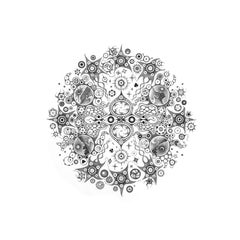 Snowflakes 114, Mandala Pencil Drawing, Cosmic Landscape, Planets, Moon, Desert