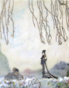Road Trip, Encaustic Painting with Two Figures, Children, Tree, Blue and Purple