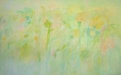 Garden, Large Horizontal Light Green Painting, Pale Yellow, Teal, Orange, White