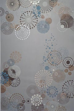 Grey Multi Dot Large, Mixed Material Texture Circle Pattern in Grey Blue White