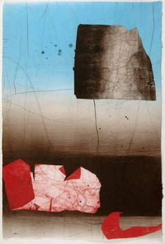 Coral Coulee, Medium Vertical Abstract Geometric Blue Red Gray Print