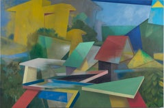 Hitting Home, Large Horizontal Geometric Painting, Green, Blue, Yellow, Red