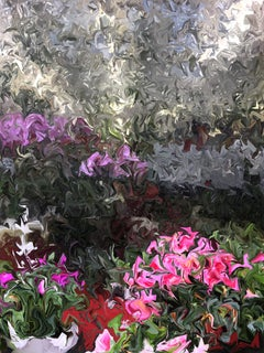 Azalea and Orchid, Abstract Print on Aluminum in Pink, Purple, Green, Gray