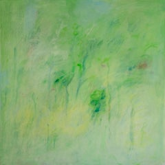 Wind and Trees, Large Square Painting in Shades of Bright Green, Pink and Blue