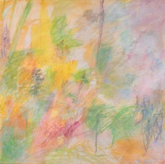 July, Pastel Colored Square Painting, Yellow, Green, Pink, Orange, Lavender