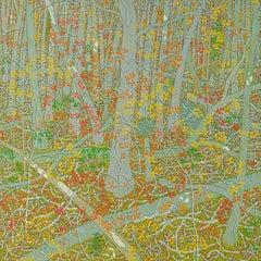 Old Oak October, Fall Forest, Virginia Landscape in Grey, Orange, Yellow, Green