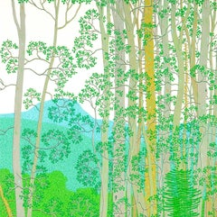 Hazy Afternoon, August Summer Landscape with Bright Green Leaves and Mountains