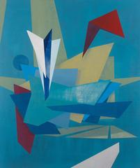 Canards, Medium Abstract Geometric Blue, Red and Yellow Oil Painting on Linen