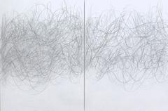 Dovetail, Large Horizontal Abstract Line Drawing Diptych of Sound Waves