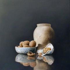 Pot, Delft Blue Bowl, and Walnuts, still-life painting