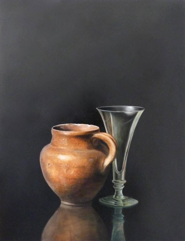 Spanish Jar with Champagne Glass, still life painting