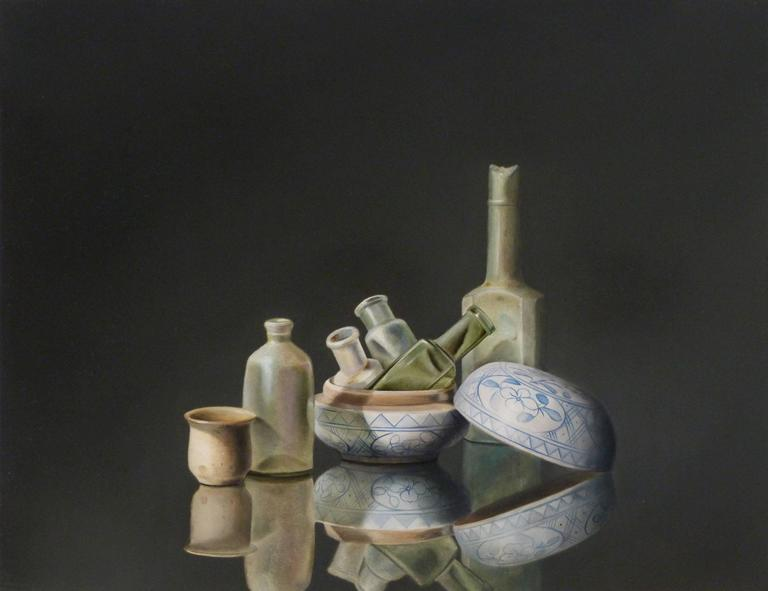 Antique Glass and Pottery, still life painting