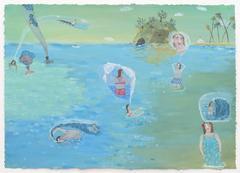 Island, gouache painting