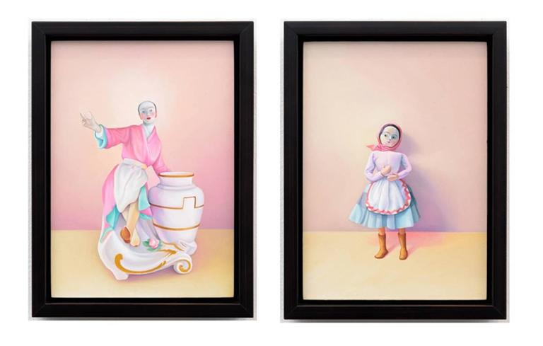 Laura Lasworth Figurative Painting - The Annunciation (diptych), oil painting