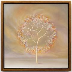 Depression Glass Tree, oil painting on wood panel