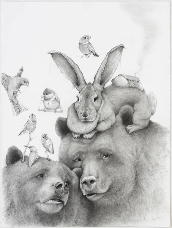 Adonna Khare Animal Art - Momma Bear, carbon pencil portrait of bears with birds and bunny