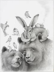 Momma Bear, carbon pencil portrait of bears with birds and bunny