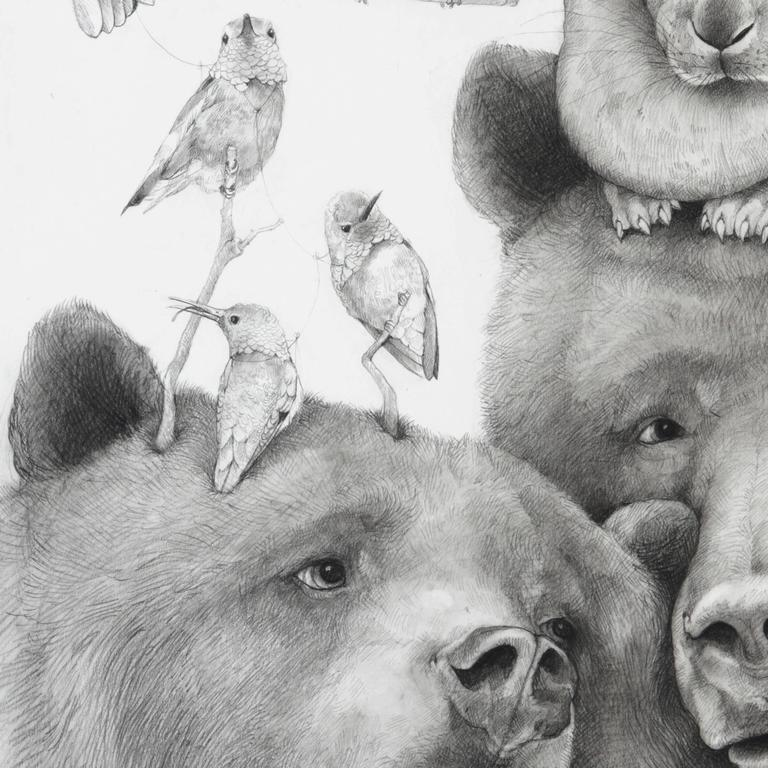Momma Bear, carbon pencil portrait of bears with birds and bunny  - Art by Adonna Khare