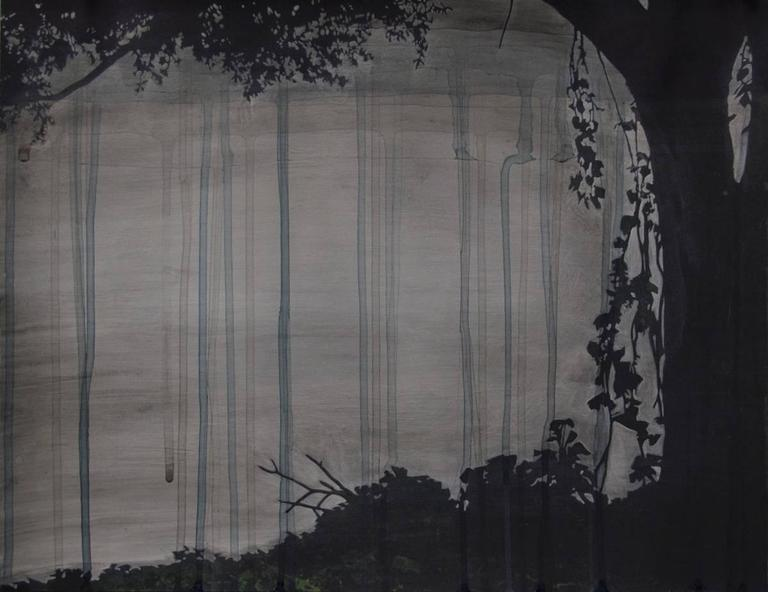 Downpour, with Foliage, mixed media painting