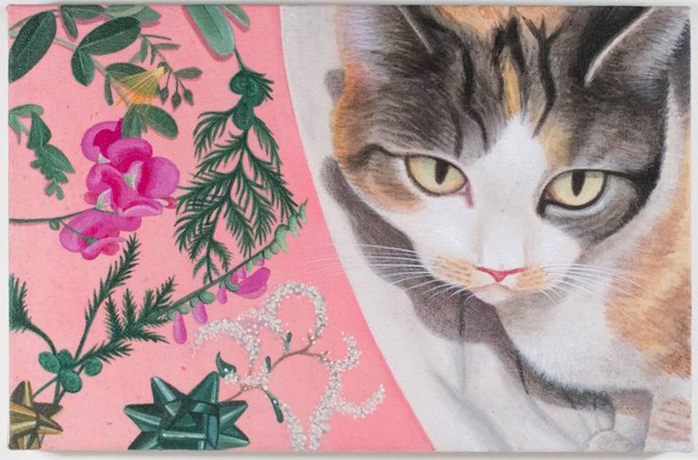 Rashell George - Calico and Flowers, acrylic painting  1