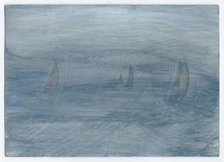 Sailboats, acrylic on postcard