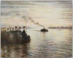 Thames, 1943, oil painting on panel