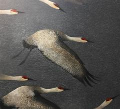 Cranes, mixed media painting