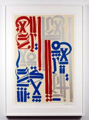 American Revolutionaries, silk screen in red, blue and silver