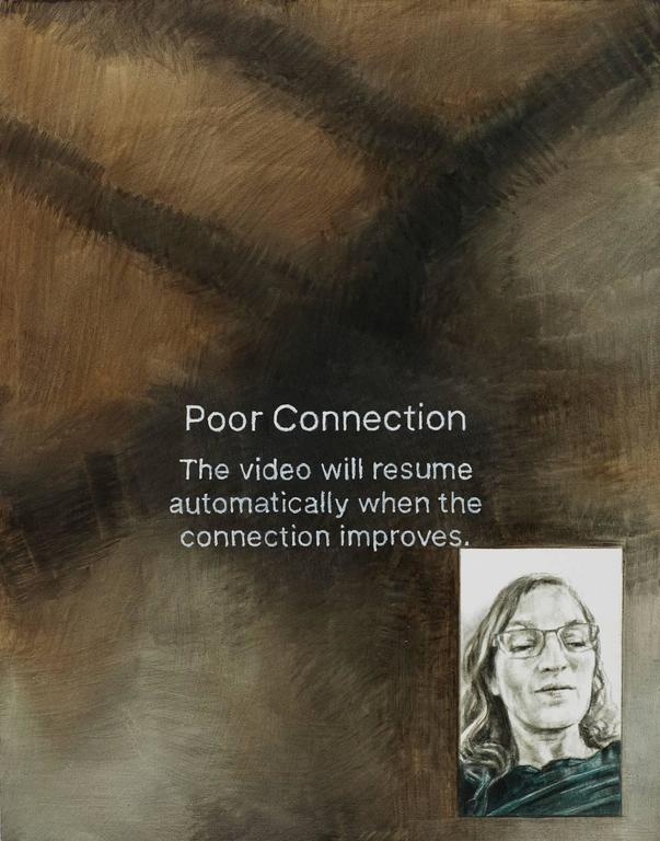 Poor Connection, oil painting on wood