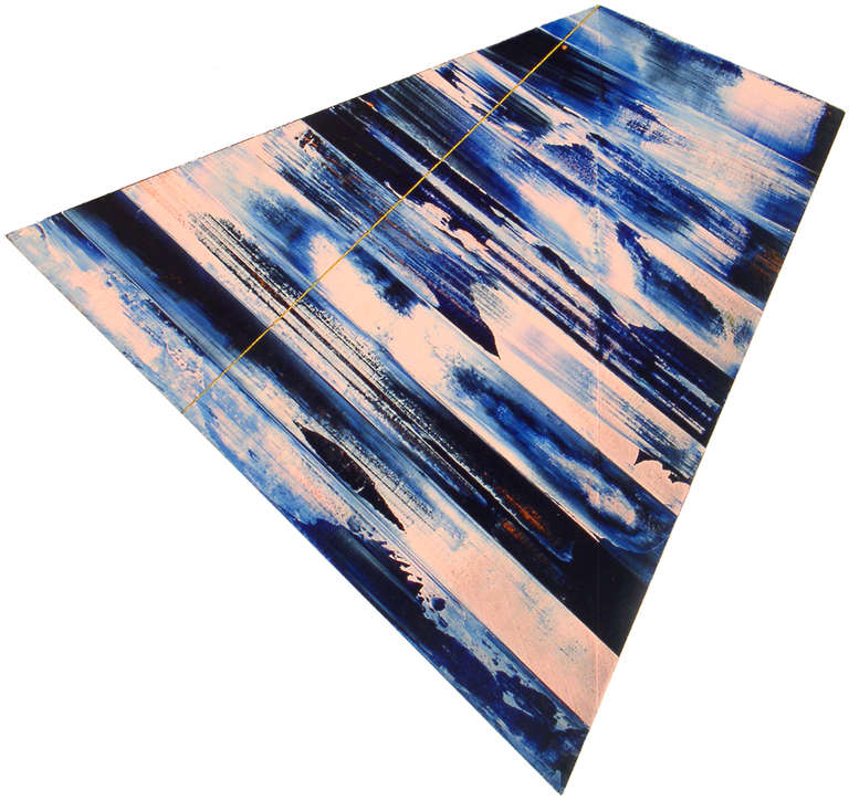 Blue Drag, acrylic painting on shaped wood panel