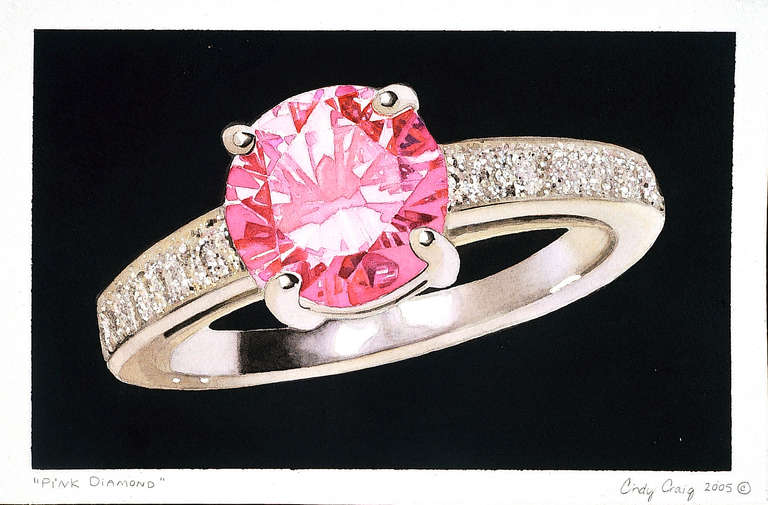 Cindy craig pink diamond ring painting at 1stdibs for Hendrickson s fine jewelry