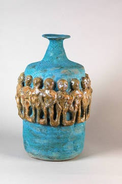 Matte Turquoise Bottle with Gold Lustre Figures