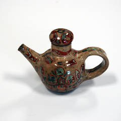 Gold Lustre Teapot with Underglazed Decorations