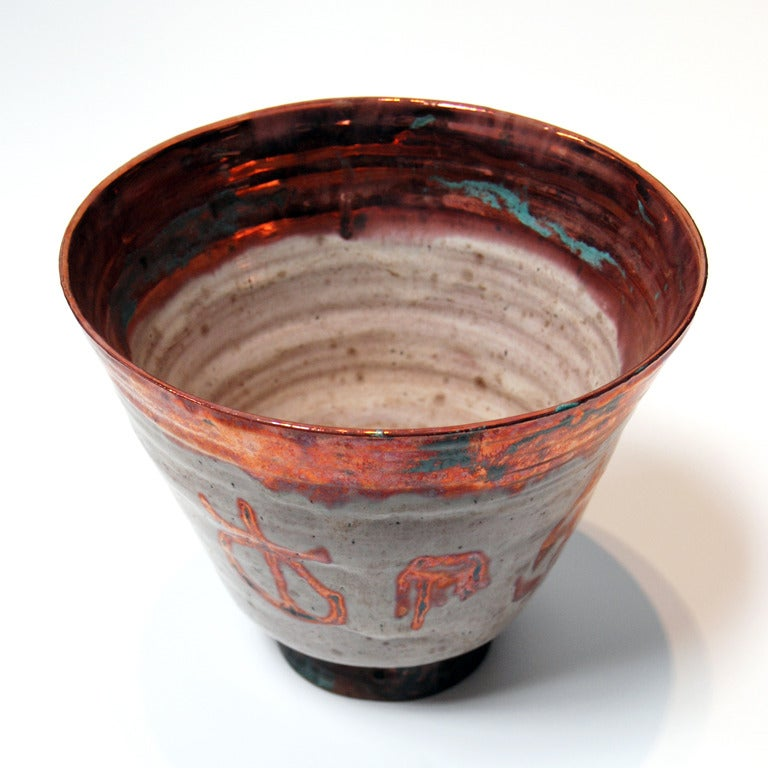 White & Copper Lustre Vessel with Markings - Sculpture by Beatrice Wood