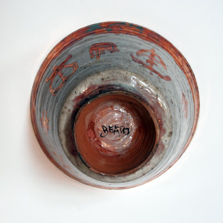 White & Copper Lustre Vessel with Markings - Dada Sculpture by Beatrice Wood