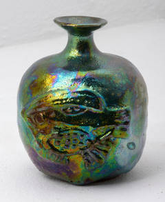 Blue Green Lustre Bottle with Fish,
