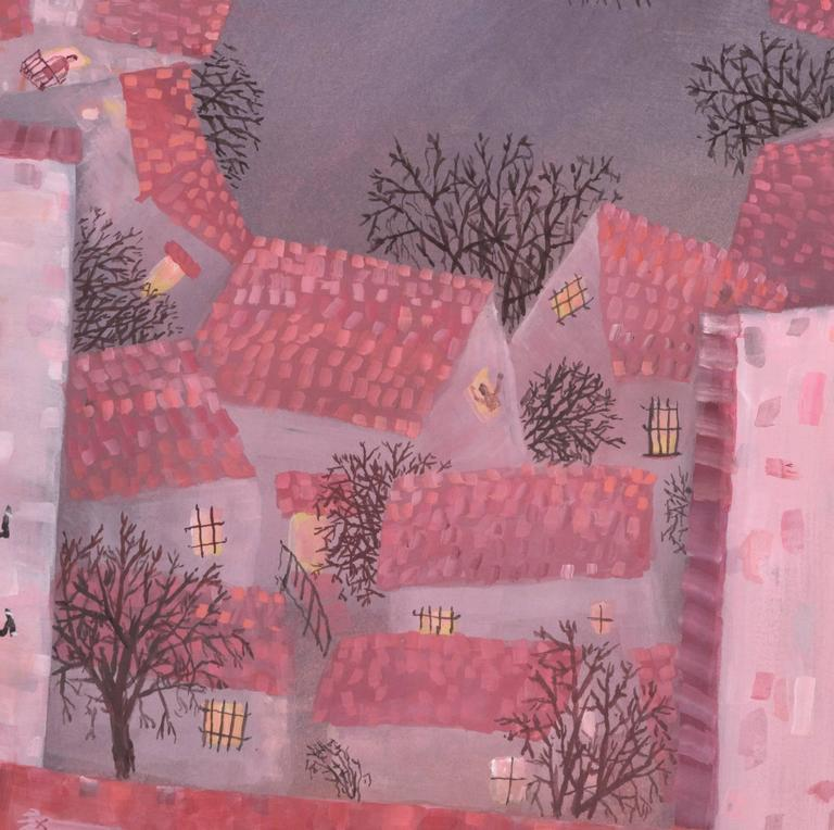Earthquake, gouache on paper  - Pink Landscape Painting by Ann Chamberlin