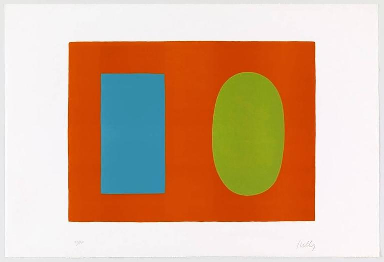 Ellsworth Kelly Abstract Print - Blue and Green over Orange, Bleu et vert sur orange, from Suite of 27 lithos