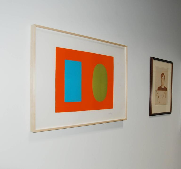 Blue and Green over Orange, Bleu et vert sur orange, from Suite of 27 lithos - Print by Ellsworth Kelly