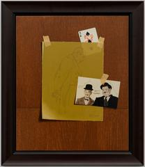 Laurel and Hardy, Bulter in Love tromp l'oeil  painting