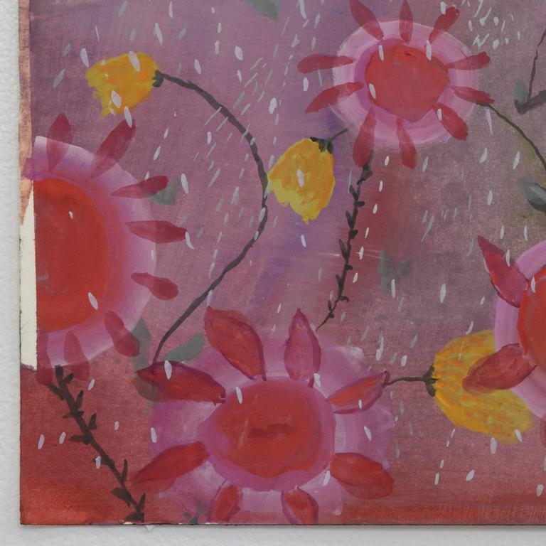Happy Sunflowers Go Boo Hoo Hoo - Outsider Art Painting by Ann Chamberlin