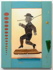 Still Dancing, trompe l'oeil painting of dancing tin man
