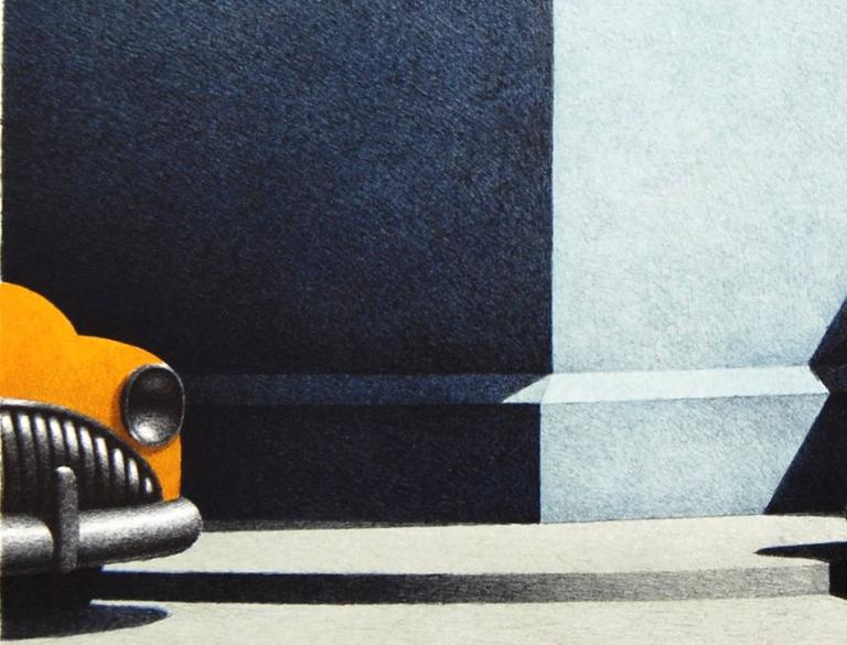 Short Symphony, hand colored lithograph of vintage cars - Print by Michael Chapman
