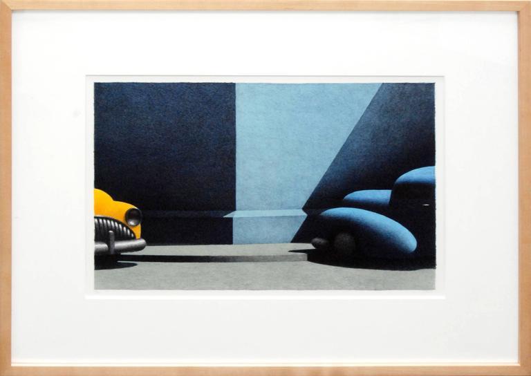 Short Symphony, hand colored lithograph of vintage cars - Black Landscape Print by Michael Chapman