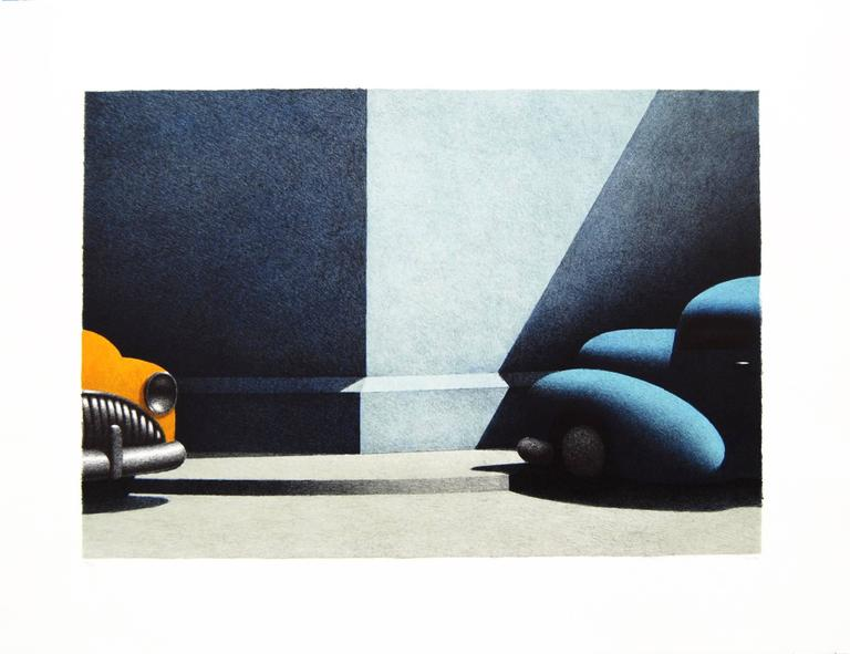 """Michael Chapman  4 color lithograph with watercolor, edition: 50 21 x 28""""  Michael Chapman is an American artist. He strives to capture the transitory nature of life--cars speeding by, deserted streets, etc. His influences include Edward"""