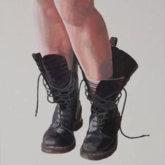 Docs and Stripes, oil painting on panel