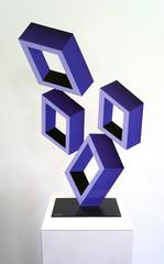"""""""4 Violet Boxes"""", illusion sculpture, painted metal 2016"""