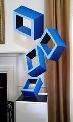 """4 Blue Boxes"", illusion Sculpture, painted metal 40x23"","